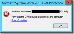 Unable to connect to DPM server error