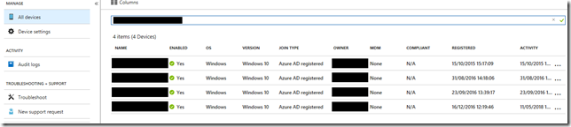 Device list in Azure AD