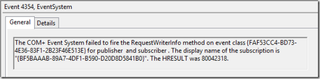 Event 4354 - Failed to fire the RequestWriterInfo method