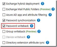 Azure AD Connect Password Writeback Config Option