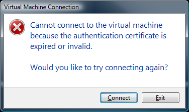 Hyper-V virtual machine connection failed – Authentication