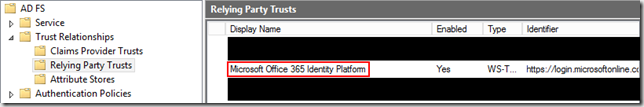 O365 Relying Party Trust