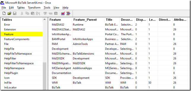 Orca Features Table for BizTalk Server 2016 MSI