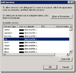 Add Services dialog, cifs service selected