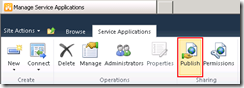Service Application publish ribbon toolbar button