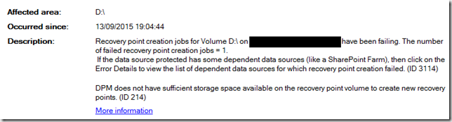 DPM does not have sufficient storage space available...