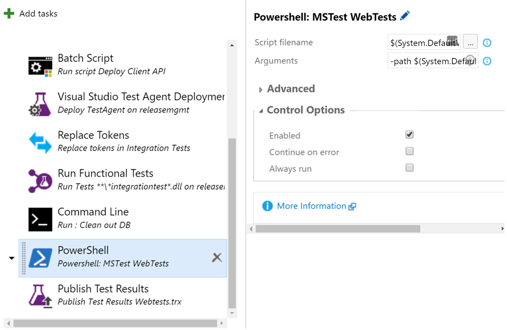 Running WebTests as part of a VSTS VNext Release pipeline – But it