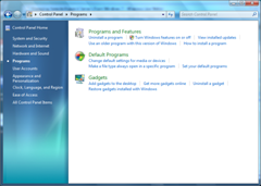 Windows 7 Control Panel, Programs and Feature section