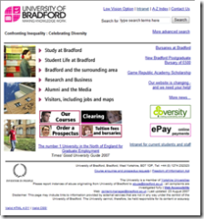The University of Bradford old website
