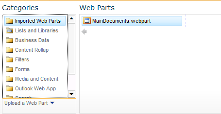 add an imported web part
